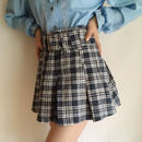 USA 80-90's checked pleats mini skirt