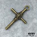 【2点セット】 十字架 39.75mm クロス  Cross 金属製 ブラスカラー 商品番号C-0002