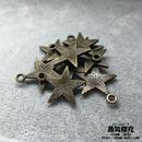 【10点セット】五芒星風ペンダント素材 20.8mm x 18mm 金属製ハンドメイド素材 商品番号S-0048