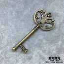 【5点セット】鍵風ペンダント素材 66mm x 29mm 金属製パーツ ブラスカラー 商品番号K-0031