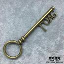 【5点セット】鍵風ペンダント素材 83mm x 23mm LOVE文字柄 金属製パーツ ブラスカラー 商品番号K-0035