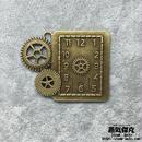 【4点セット】歯车付き時計風ペンダント 50mm x 39mm 金属製パーツ 商品番号T-0002