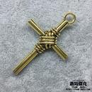 【2点セット】 十字架 39.75mm クロス  Cross 金属製 ゴールドカラー 商品番号C-0001