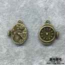 【4点セット】時計風ペンダント素材 金属製パーツ 商品番号T-0016