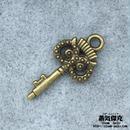 【10点セット】鍵風ペンダント素材 ふくろう【枭】柄グリップ 21.1mm x 10.3mm  金属製パーツ 商品番号K-0071