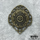 【4点セット】時計風ペンダント素材 43mm x 36mm 金属製パーツ ブラス 商品番号T-0011