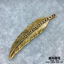 【3点セット】羽風ペンダント素材 ゴールドカラー 98.1mm x 22mm 金属製ハンドメイドパーツ 商品番号W-0021