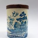 イギリス製・木目調の蓋つきヴィンテージ缶お茶入れ/ブルーウィローデザイン