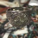 Vintage US NAVY Masonic フリーメイソン シルバーリング 24号