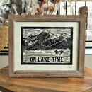"HAND PRINTED WOODCUT ""ON LAKE TIME"""
