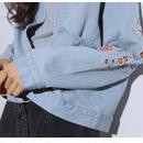 新作 人気 プチプラ ショート 長袖 襟付き Gジャン アウター ジャケット ブルゾン 春夏 デニム 花柄