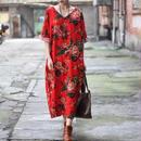 アジアンレトロ モード系 ワンピース 花柄 ドレス ドレスローブ アジアンレッド 赤系 Vネック 春夏 秋