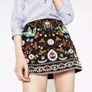 新作 人気 フォークロア 刺繍 花柄 ミニスカート フリーサイズ