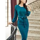 ワンピース ドレス ひざ丈 無地 ブルーグリーン ラウンドネック ウエストリボン 新作 人気 セール sale プチプラ 送料無料