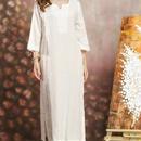 白 プレミア セレブ エスニック ワンピース 花柄 刺繍 アジアン 上品 清楚 ドレス Vネック 五分袖 七分袖 春夏 秋