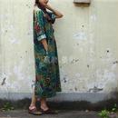 アジアンレトロ モード系 ワンピース 花柄 ドレス ドレスローブ アジアン 緑x青系 Vネック 春夏 秋