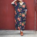 アジアンレトロ モード系 ワンピース 花柄 ドレス ドレスローブ アジアンブルー ダークブルー系 Vネック 春夏 秋