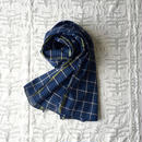 #100 Khadi Panel Plaid Stole (Blue)