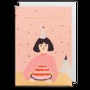 birthday card ケーキとネコ