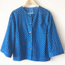 indigo-dyed collarless embroidered jacket / 03-7304001