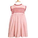 赤のドット柄がかわいいモッキング刺繍ワンピース(95-100cm)