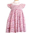 フリフリの襟とかわいい花柄のスモッキング刺繍ワンピース(95-100cm)