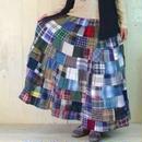 ネル生地 パッチワーク ロングスカート ゆったりサイズ