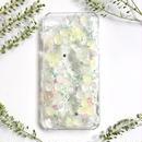 iPhone5~10対応/紫陽花のスマホケースiPhone,各種/グリーン