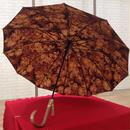 傘専門店  通販  東京  雨傘  ワンタッチ  ジャンプ  グラスファイバー  サビない  旅傘  【12本骨  柄が浮き出る  薔薇  ブラウン】