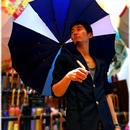 36本限定生産 傘専門店 通販 東京 雨傘 オリジナル メンズ レディース グラスファイバー サビない 超軽量 旅傘【3駒 藍-淡灰/淡青/白】