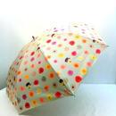 【折&長 】 傘専門店 通販 東京 雨傘 日傘 グラスファイバー 長傘  折り畳み 旅傘【MF ドットFlower beige】