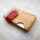 a card case オーク×レッド  木と革の手作り名刺入れ