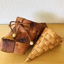 白樺細工/Näver/ネーバー/フラワーバスケット/木靴型、コーン型/2個セット