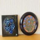 Jie Gantofta/ジィガントフタ/GABRIEL/ガブリエル/陶板/リン(麻)とブルーのヴィオラのお花柄/2枚セット