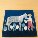 手織りのテーブルマット/男の子と馬とチューリップ