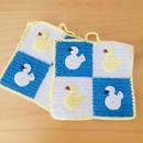 手編みのポットマット/ポットホルダー/小鳥さんとアヒルさん