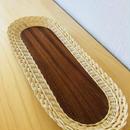 手編みのスタイリッシュなトレイ/籐とチーク/ロング