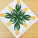プリントクロス/リネン/黄色いチューリップ柄