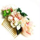 a-3*Candyピンクな薔薇と四つ葉のクローバー髪飾り