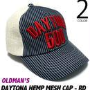old-816-rd - デイトナ ヘンプ メッシュキャップ(レッド)【 OLDMAN'S オールドマンズ 】-G-( HEMP MESH CAP アメカジ デニム ヒッコリー 刺繍 帽子 )