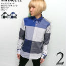 sh74802-bu71 - オックスフォード BIGブロックチェック BDシャツ(ブルー)- VINTAGE EL -Z-