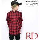 sh73809-rd13 - ヘヴィネル ブロックチェック ワークシャツ(レッド)- VINTAGE EL - ヴィンテージイーエル -G-( ネルシャツ アメカジ 長袖シャツ )