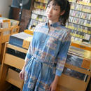 na4839-bu -オルテガ柄 ロングシャツワンピース ( ブルー ) Nanea-R- デニム 7分袖 七分袖シャツ カジュアル アメカジ 青色