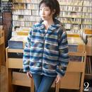 na4800-ny - ジャガードボア リバーシブル フーディージャケット ( ネイビー )-Nanea-R- アウター 防寒 ネイティブ柄 可愛い 冬服コーデ