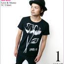 2週間限定セール☆ tgw021tc - Love & Money(ラブ&マネー)TC Tシャツ -G- バラ 薔薇 パンク 半袖 メンズ レディース カットソー