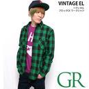 sh73809-gr53 - ヘヴィネル ブロックチェック ワークシャツ(グリーン)- VINTAGE EL - ヴィンテージイーエル -G-( ネルシャツ アメカジ 長袖シャツ )
