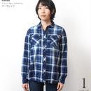 na4839-bu -オルテガ柄 ロングシャツワンピース ( ブルー ) Nanea-R- デニム 7分袖 七分袖シャツ カジュアル アメカジ 青色  のコピー