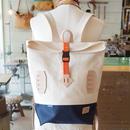 帆布BAGPACK(ホワイト×ネイビー×オレンジ)