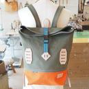 帆布BAGPACK(カーキ×オレンジ×シアンブルー)