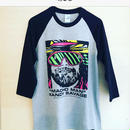 """MACHO MAN"" RANDY SAVAGE FACE 七分袖 tee-shirt (gray×black)"